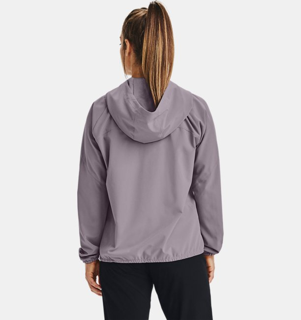 Womens UA Woven Branded Full Zip Hoodie